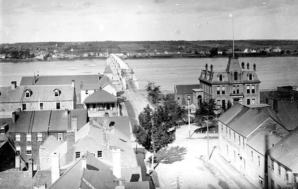 Carleton Street Bridge from spire of Wilmot Church looking north toward St. Mary's, ca. 1890. PANB P5-290B