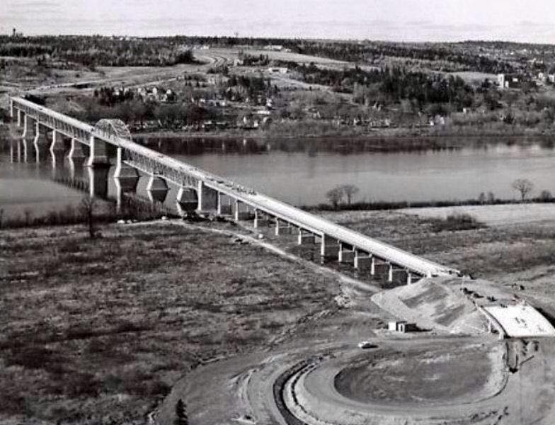 Princess Margaret visited the bridge site, so named in her honour, during construction in 1957.