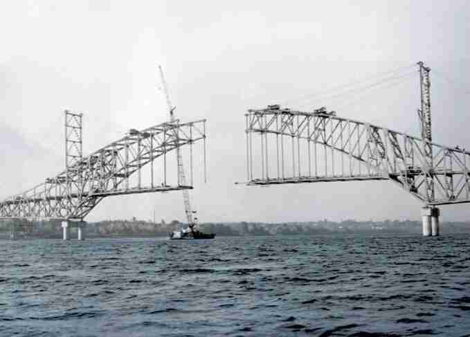 Burton Bridge under construction. 1969