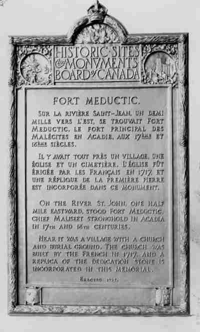 Meductic/Fort Meductic Historic Site Plaque