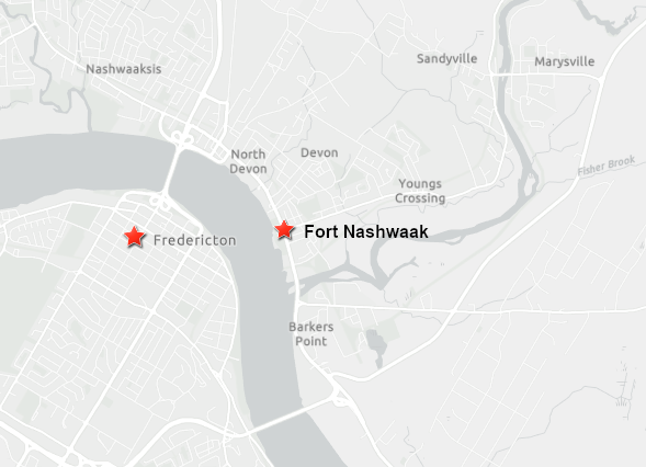 Map showing the location of Fort Nashwaak