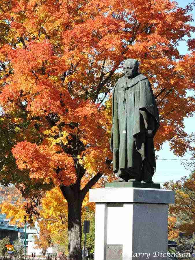 The Beaverbrook Statue has been moved to The Green