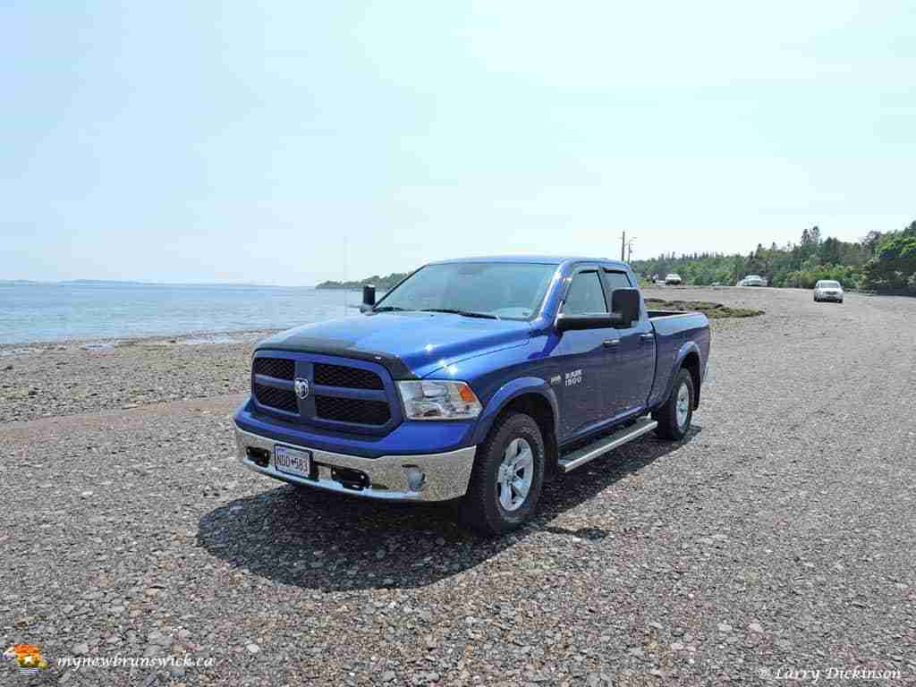 MyNewBrunwick truck on the ocean floor heading to Ministers Island