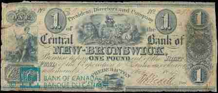 Bank of New Brunswick one pound note