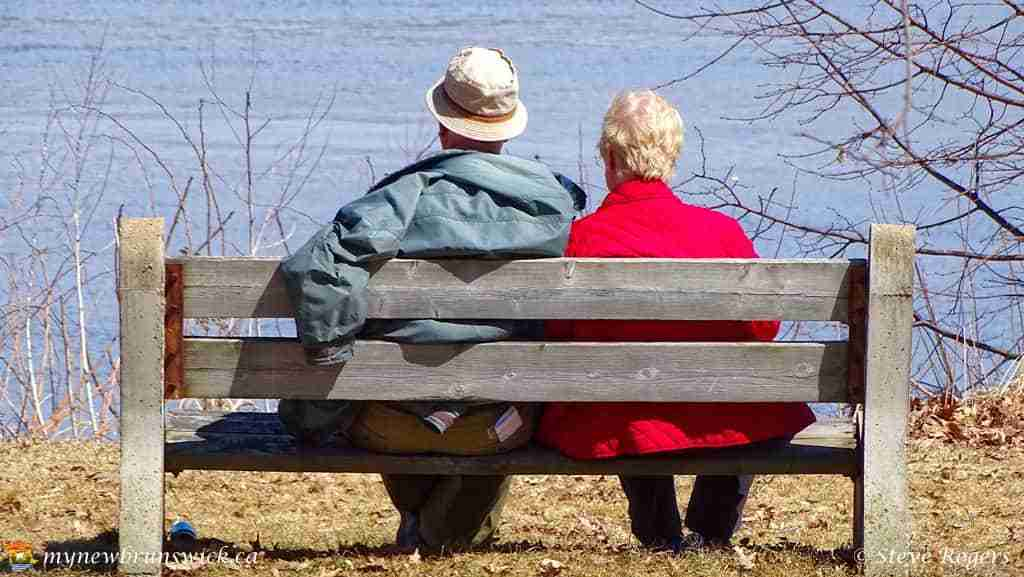 Spring 2016 Old couple on city park bench