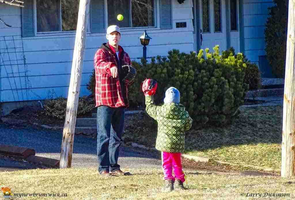 Spring 2016 father and daughter play catch