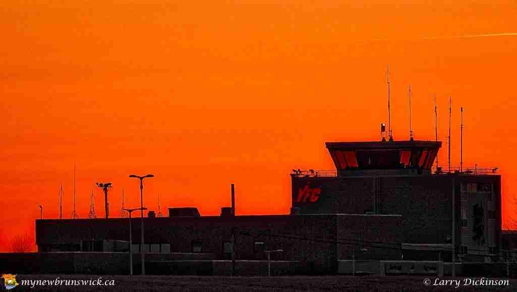 Spring 2016 sunset at Fredericton Airport