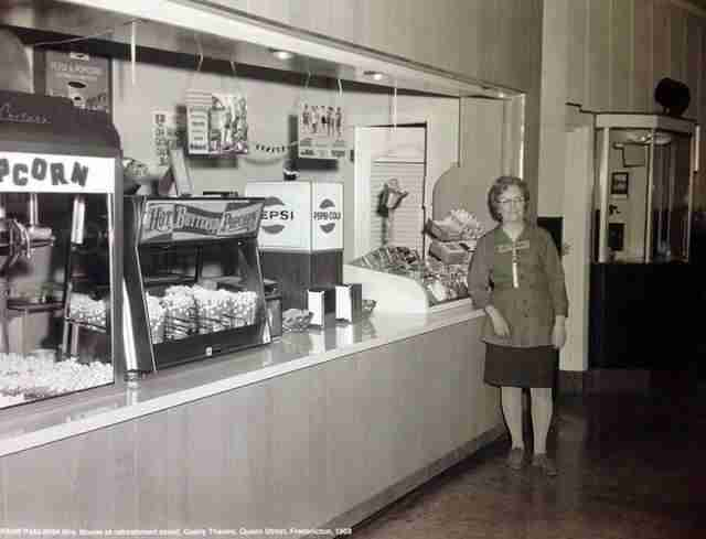 1969 photo of the Gaiety Theatre concession counter Mrs Boone (PANB)