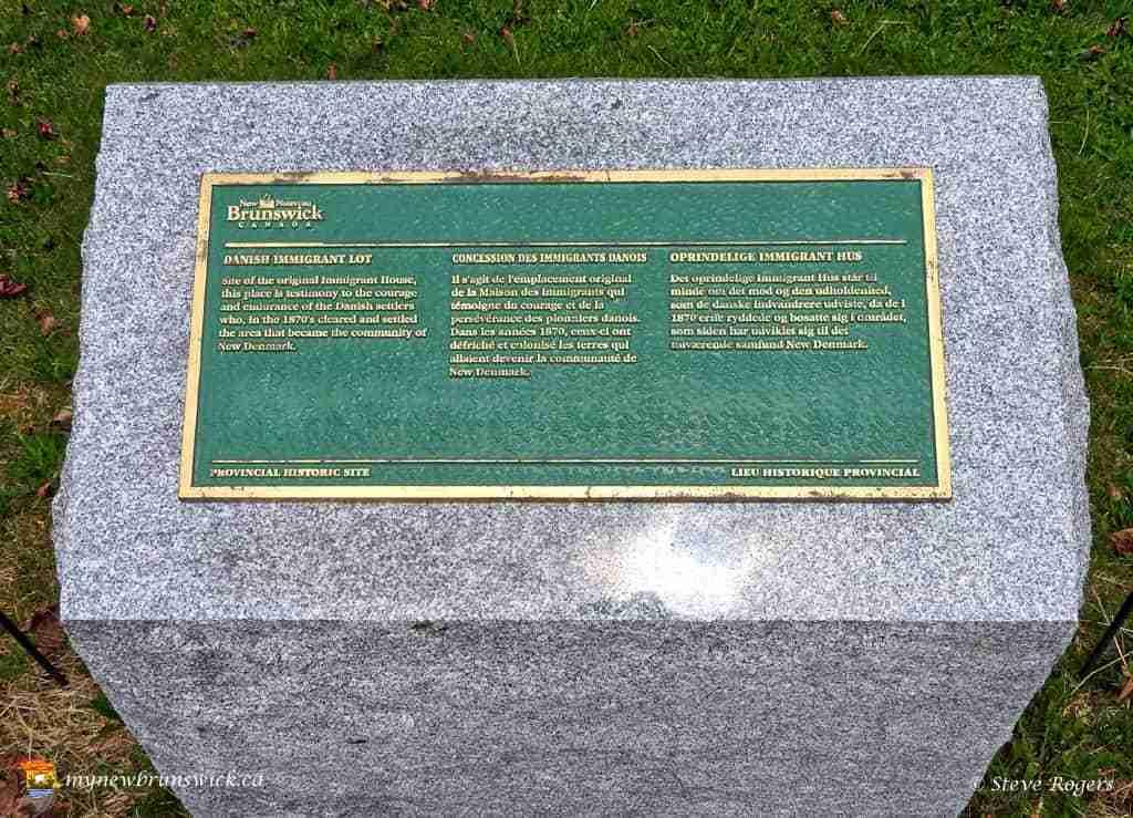 Danish Immigrant lot plaque at New Denmark NB