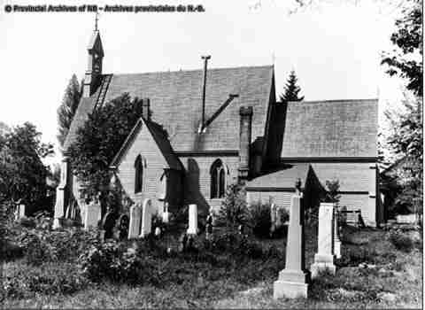 Historic photo of Saint Andrew's Anglican Church. Provincial Archives of New Brunswick.