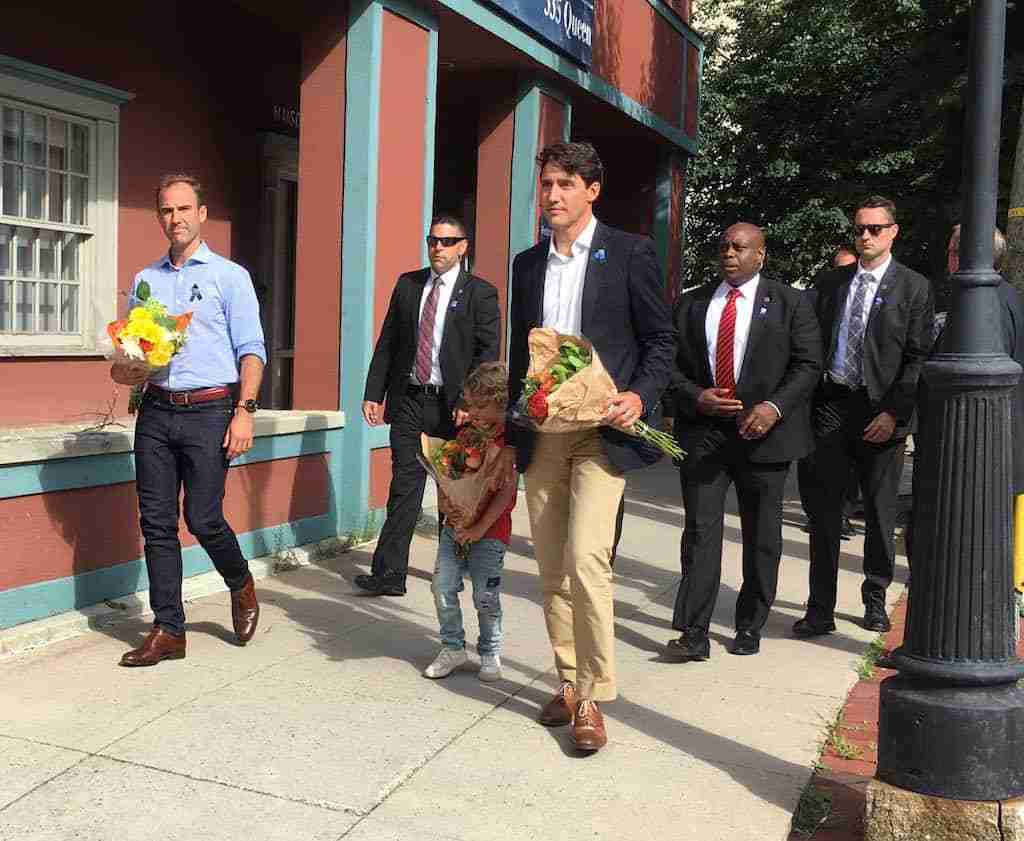 Justin Trudeau Fredericton Lays Flowers at Police Memorial