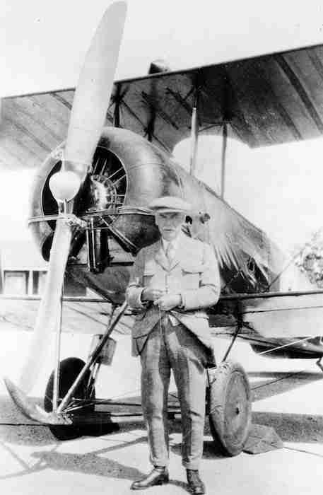 Wallace Turnbull posing with his propellor.