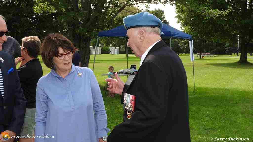Lieutenant Governor Jocelyne Vienneau speaks with a veteran on First Responders Day