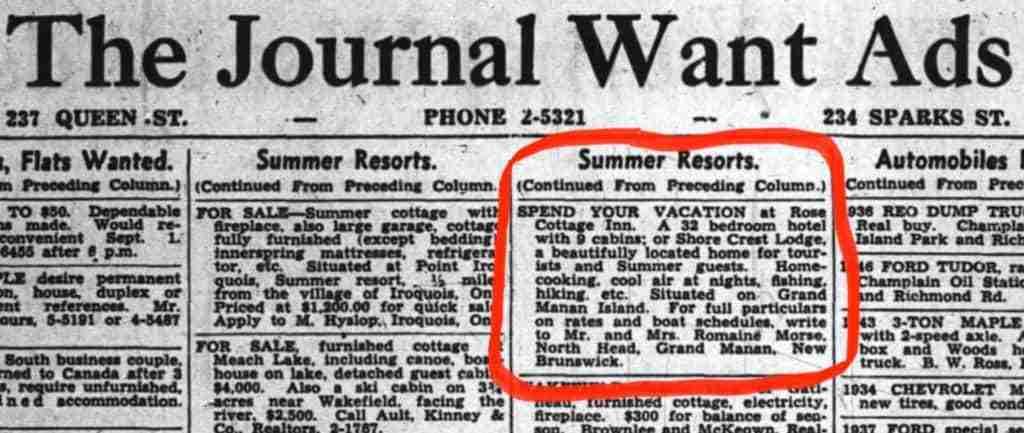 Rose Cottage Ottawa Journal Ad 1948