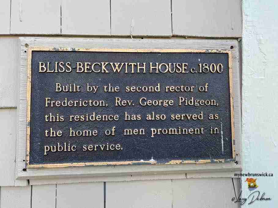 bliss-beckwith home plaque