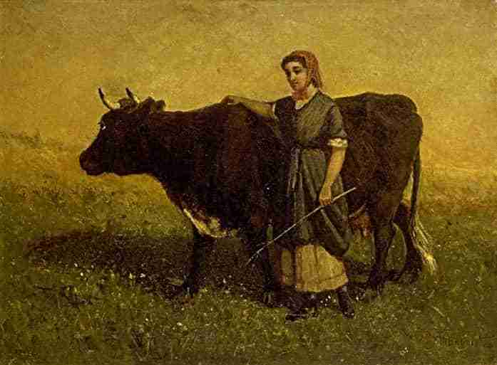 "Edward Mitchell Bannister ""Woman walking with cow"""